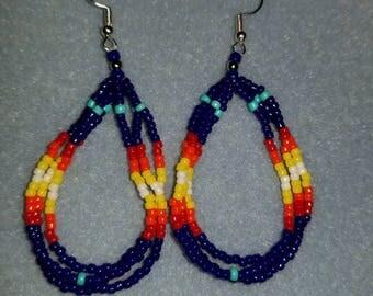 Dark Blue Flame Hoop Earrings