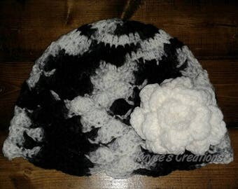 3 in 1 Adult beanie with flower, beanie with flower, winter hat, Crochet beanie, adult beanie with flower, hat with flower, beanie,pom