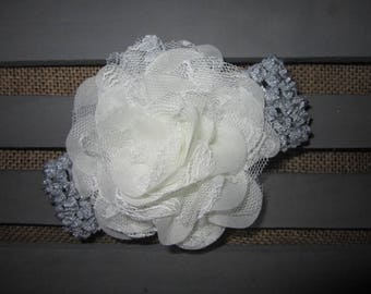 Silver/gray Floral Headband for Baby