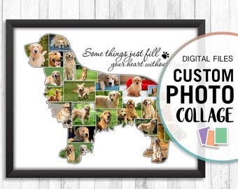 Golden Retriever Gifts, Golden Retriever Art, Dog Collage Picture, Dog Collage Digital, Personalized Photo Collage, Collage Print, Wall Art
