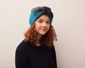 Handmade, merino wool, hand knitted turban, warm headgear, winter coarse, with hand fashion, wool, soft women's coin with 3 colors