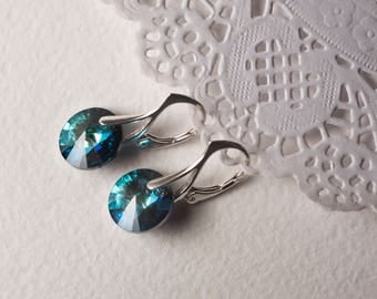 Silver earrings with Swarovski crystal Bermuda Blue