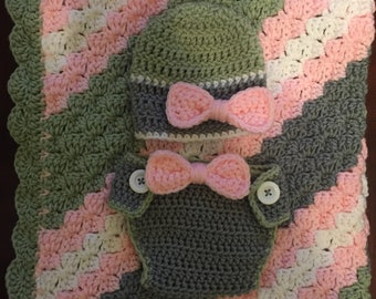 Crochet Baby Blanket with Matching Hat and Diaper Cover