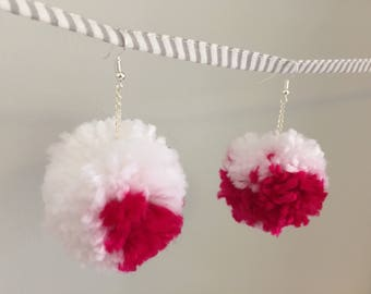 Cranberry dipped snowballs - handmade pom-pom earrings