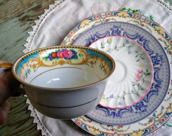 FREE SHIPPING - 4 Piece Vintage China Tea Set - Blue, Pink And Yellow Dining Set