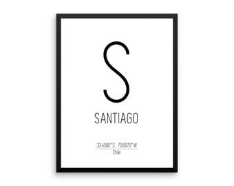 santiago print santiago printable art santiago coordinates instant download digital download