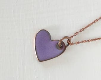 purple enamel heart pendant