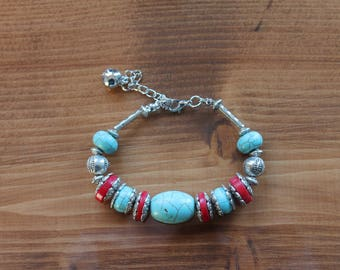 Turquoise and Red Stone Bracelet