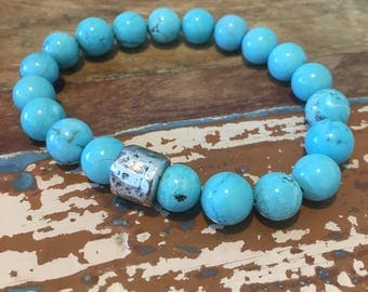 Turquoise and silver protection bracelet