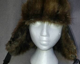 Aviator Trapper Hat with Upcycled Muskrat Fur Flaps and Peak