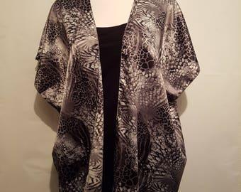 Handmade Satin Kimono - Silver / Grey - Fits to Size 22 | Kimono Jacket | Kimono Top | Kimono Dress | Kimono Robe | Kimono Cardigan