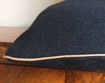 Navy blue wool pillow, wool blend pillow, menswear style pillow, rustic style pillow