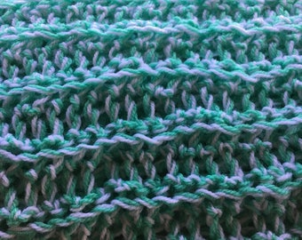 Crochet Baby Afghan - green and white - Team Paws Chicago