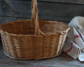 French vintage basket. French shopping basket. French wicker basket. French woven basket. Bike basket. Picking basket. French sewing basket.