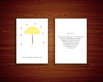 A5 Postcard / A4 Poster - How I Met Your Mother - Yellow Umbrella - TV Series - Ted Mosby - Valentine's Day - Digital Print - Art