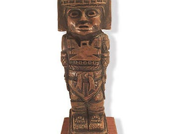 Toltec Warrior  Sculpture | Pre hispanic Replica Figure | Pre Columbian Toltec Statue