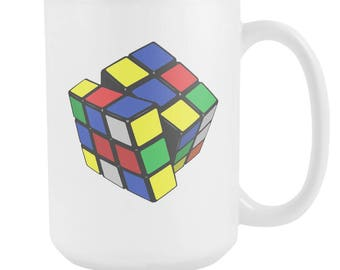 Rubix Cube, Quirky, Puzzle, Problem Solver, Nerdy, Nerd, Mug, Intelligent, Genius, Geeky, Geek, Coffee, Tea, Beverage, Cup, Classic Toy