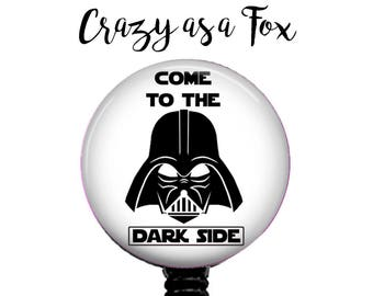 "Star Wars Darth Vader ""Come to the Dark Side"" Retractable Badge Holder, Badge Reel, Lanyard, Stethoscope ID Tag, Nurse md rn cna Gift"