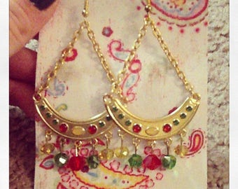 Red, Green & Gold Chandelier Earrings