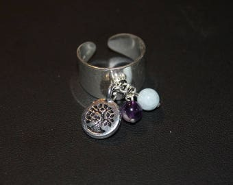 Silver tree of life and gems Adjustable ring