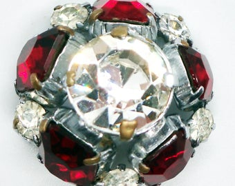 Red and White Stone Brooch