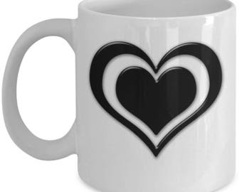 Double Heart - High Quality Cute White & Black Ceramic 11 oz or 15 oz Mug - Love Valentine's Day Mother's Day Mom Wife Girlfriend Gift