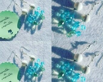 Green teardrop earrings, blue earrings, green earrings, fashion earrings, stylish earrings, teardrop earrings