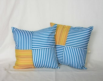 "Javanese Orange Lurik - Turquoise Cushion Cover 16"" x 16"" (40cm x 40cm)"