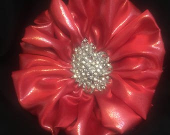 Bright Red Fabric Flower Brooch