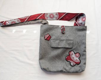 Gray Medallion Messenger Bag