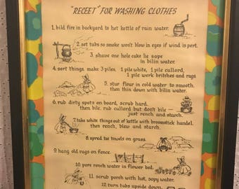 "Vintage ""Receet"" for Washing Clothes Picture"