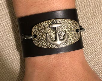 Anchor Leather Cuff