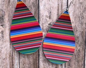 Serape Faux Leather Earrings, Faux Leather, Teardrop Earrings, Spring Earrings, Summer Earrings