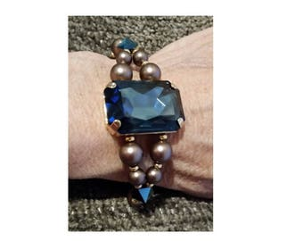 Blue Crystal and Pearl Bracelet