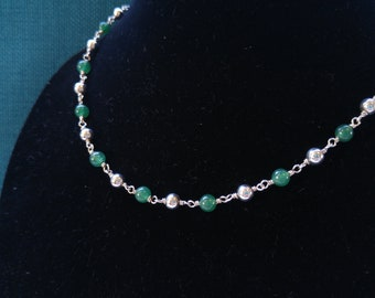 Sterling and Green Aventurine Bead Necklace-  Beaded Necklaces- Gifts for her- Southwestern Jewelry- Goes with Everything-St. Patrick's Day-