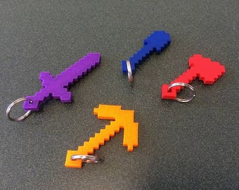 3D Printed Keychain | Minecraft | Axe | Shovel | Sword | Pick | Gift | Kids | Video Game | Keyring | Personalized | Custom | Colorful