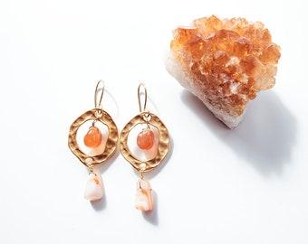Carnelian Hoop Earrings. Bohemian Jewelry. Gemstone Earrings. Hoops. Carnelian.