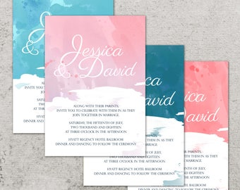 Wedding Invitation, Wedding Invitation with Matching RSVP and Other Information Card,  Contemporary Wedding Invitation, Watercolor Wedding