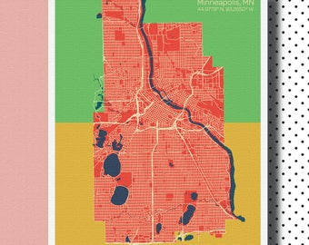 Minneapolis- MPLS- MN- Map Art Print