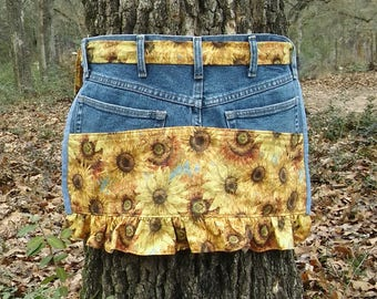 Upcycled Denim and Tuscan Sunflower Gardening Apron