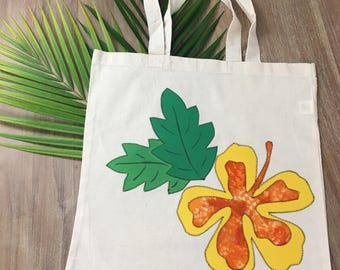 Yellow Hibiscus Canvas Tote Bag