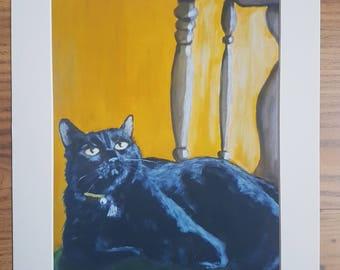 Black cat animal art print