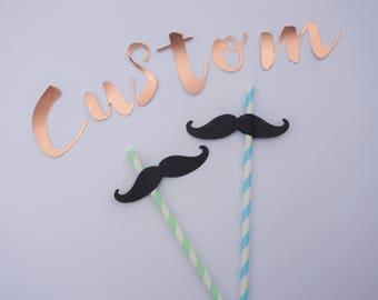 CUSTOM Party Straws x10