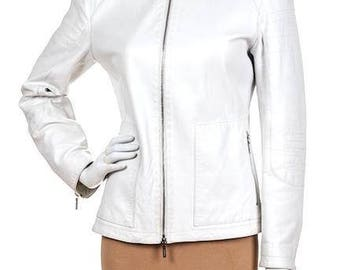 Jil Sander. Vintage White Leather Jacket