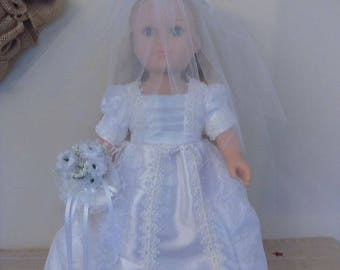 """AG Clothes, Doll Clothes, Doll Outfits, 18"""" Doll Wedding Gown with Veil and Bouquet"""