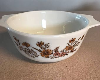 Vintage Pyrex England Woodland Country Autum Small Casserole Dish