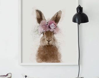 Rabbit With Flower Crown - Pink Flower Crown - Nursery Wall Art - Kids Room Decor - Easter Bunny in Watercolor Technique - Baby Girl Nursery