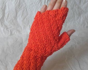 Orange cotton fingerless gloves