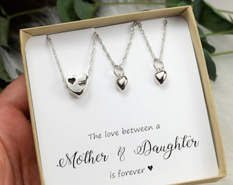 Mother daughter jewelry mother 2 daughters mother of two daughters mother daughter necklace set mother daughter necklace gold silver rose