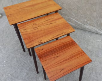 Danish Rosewood Nest of 3 Tables made by Bramin 1960's Mid century Modern